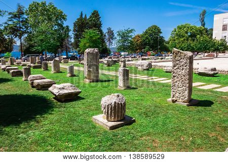 Zadar, Croatia - July 28, 2015: Nicely Arranged Ancient Ruins In The Old Part Of Town In Zadar, Croa
