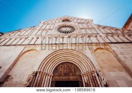 Zadar, Croatia - July 28, 2015:  Facade And Front Entrance Of The Church Of St. Anastasia In Zadar,