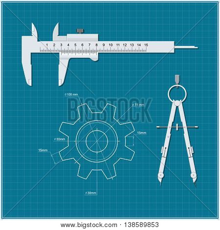 Gear calipers compasses on a background of blue drawing paper. Drawing technical mechanism. Vector illustration.