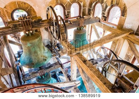 Zadar, Croatia - July 28, 2015: Interior Of The Bell Tower And The Bells Of The Church Of St. Anasta