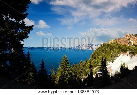 Crater Lake, Oregon on a Sunny Day, Color Image, Day