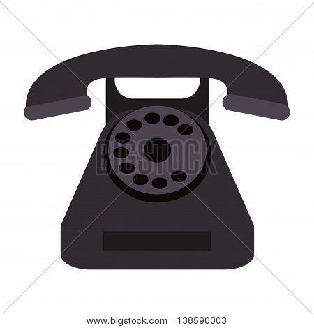 flat design rotary phone icon vector illustration