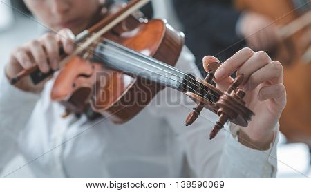 Woman tuning her violing and rotating pegs cello player on background selective focus