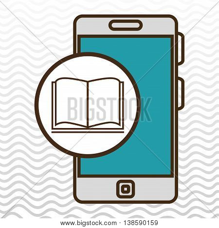 smartphone blue and book  isolated icon design, vector illustration  graphic