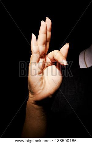 A Woman hands with cross signal abstract