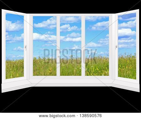 window to the summer field with grass isolated on the black