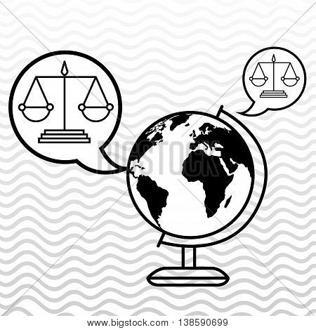 world and justice isolated icon design, vector illustration  graphic