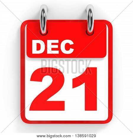 Calendar On White Background. 21 December.