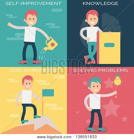 Psychology terms illustrations for self-improvement and personal growth. Person working over personal growth and improvement, gaining new knowledge, solving problems and achieving goals.