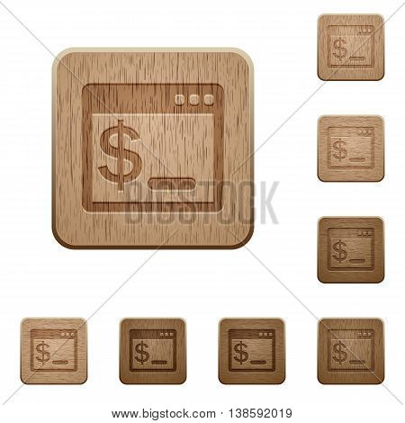 Set of carved wooden OS command terminal buttons in 8 variations.