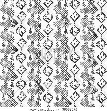 Serpent skin seamless light vector texture. Gray tone colors snake pattern ornament for textile fabric. Artificial reptile lizard leather pattern.