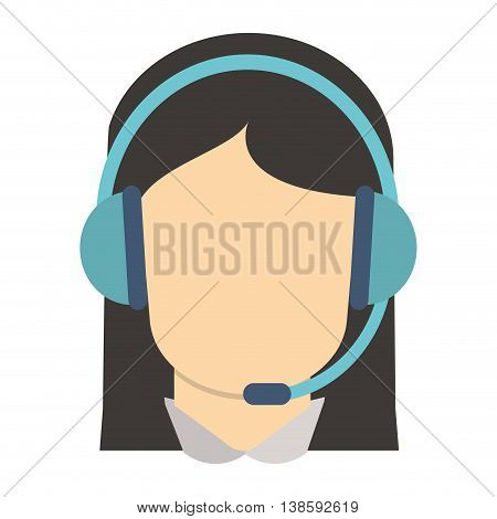 flat design female person with headset icon vector illustration