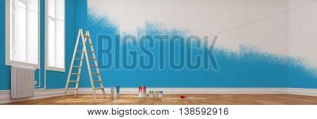 Renovation of a wall in blue in a room as panorama shot (3D Rendering)