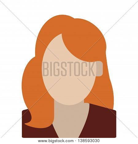simple flat design red hair faceless woman portrait icon vector illustration