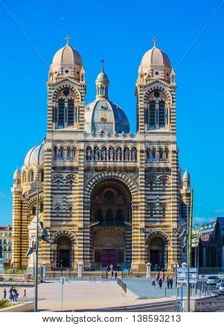 MARSEILLE, FRANCE - MAY 22, 2015:  The facade of the Cathedral of Saint Mary Major in Marseille
