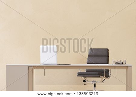 Desk with laptop computer in home office in front of an empty wall (3D Rendering)