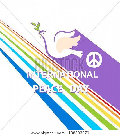 Greeting card for International Peace day with dove, peace symbol and rainbow