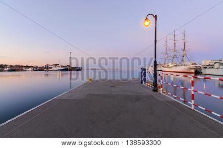 Pier in Gdynia at sunset Poland. Europe.