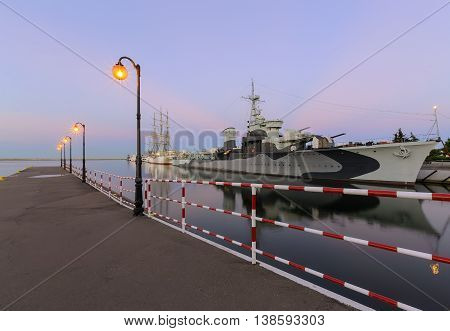 Pier and ships in Gdynia at sunset Poland. Europe.