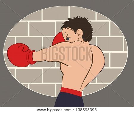 Young boxer in blue shorts trained against a brick wall. Colored isolated vector illustration for emblem label badge flier leaflet or etc. Horizontal location.