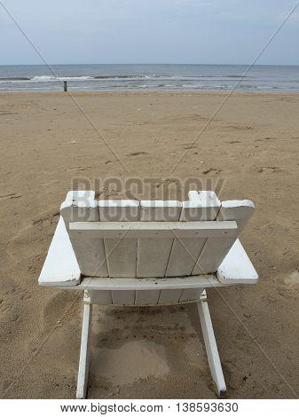 a chair on a nice beach at the dutch coast