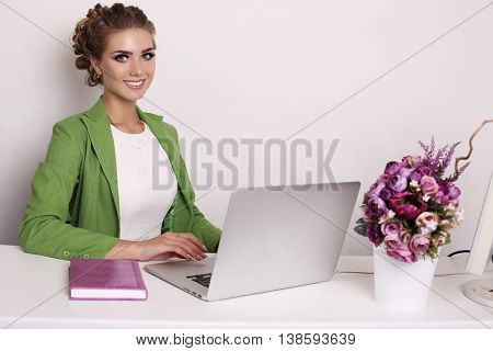 Businesslike Woman In Elegant Outfit Working On Computer