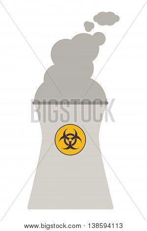 flat design nuclear chimney icon vector illustration