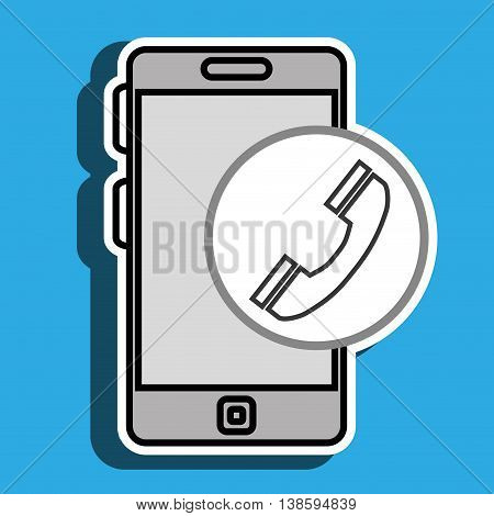 smartphone blue and telephone isolated icon design, vector illustration  graphic