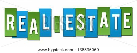 Real estate text alphabets written over green blue background.