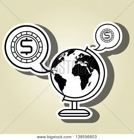 world and currency isolated icon design, vector illustration  graphic