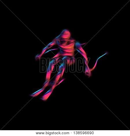 Ski downhill. Creative silhouette of the skier. Giant Slalom Ski Racer. Color illustration