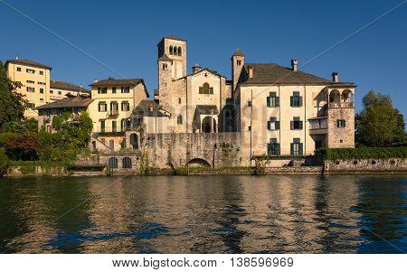 A View of Benedictine monastery at San Giulio island Lake Orta Italy