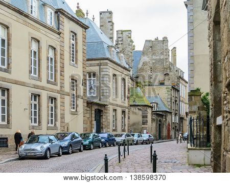 SAINT MALO FRANCE - MAY 1 2014: The Intramuros - Internal City of Saint Malo. Brittany France