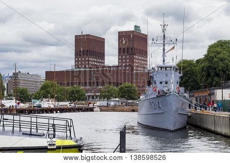 OSLO, NORWAY - JULY 1, 2016: This is view of the city of Oslo City Hall from the Navy Pier.