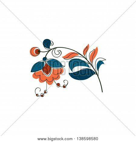 Vector Fantasy Flower in Russian ornamental style