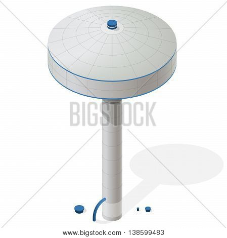 Water reservoir isometric building on column. Big water reservoir on pillar. White water supply resource. Pictogram industrial chemistry cleaner set with blue details. Flatten isolated master vector.