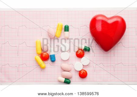 cardiogram with red pepper and colorful pills