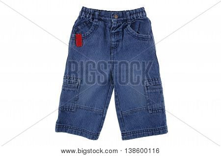Children's denim pants Children's blue jeans isolated on white background