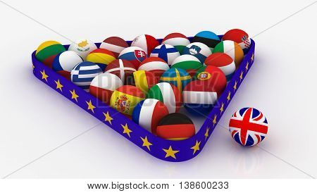 Concept - The European Union in the form of pyramids of billiard balls and the United Kingdom outside the Union