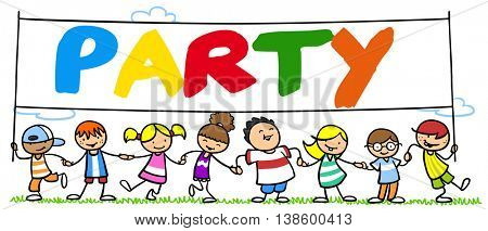 Group of cartoon children celebrating a party in nature in summer