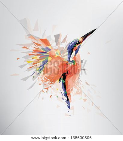 Kingfisher Bird Flying Polygon Art with Modern Art Concept