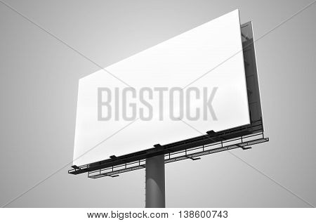 Blank White Billboard On Gray Background. 3D Rendered Illustrati