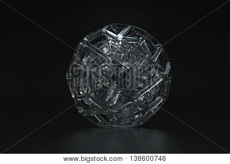 3d rendering of abstract organic looking glass geometry forms