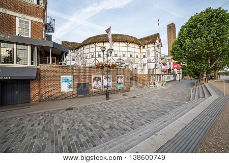 LONDON UK - 6TH JULY 2016: A view of the outside of Shakespeares Globe Theatre in the morning.