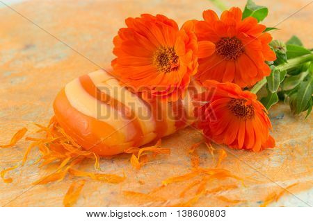 Marigold Soap With Fresh Flower Bouquet.