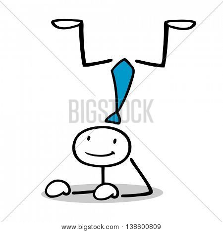 Acrobatic cartoon business man doing a handstand
