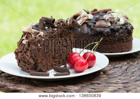 Slice of rich moist chocolate cake in a garden party setting with red cherries and green grass. Shot with selective focus.