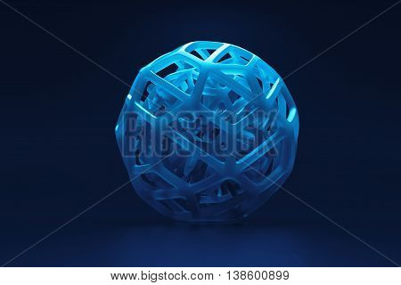 3d rendering of abstract organic looking geometry forms with light scattering and absosbtion
