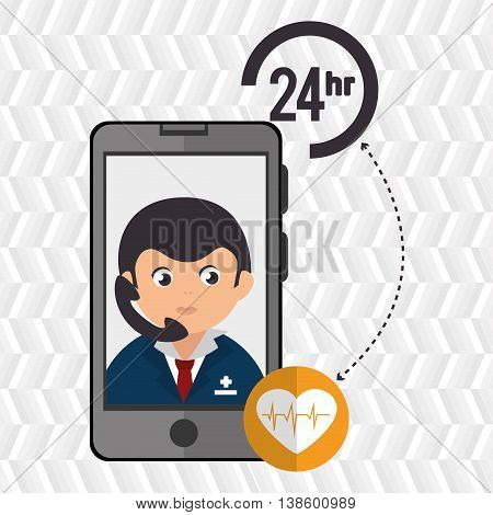 24-hour health and cardiology isolated icon design, vector illustration  graphic