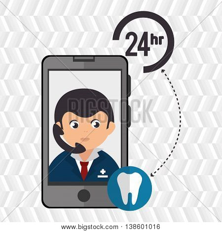 24-hour health odontology isolated icon design, vector illustration  graphic
